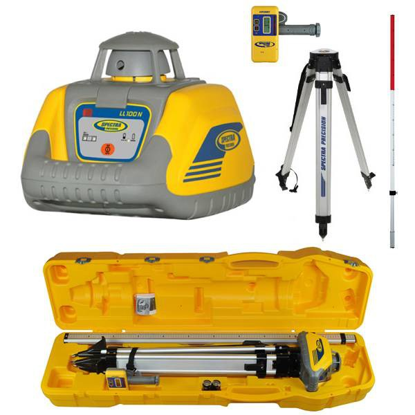 PROMOTION! Rotation laser level set LL100N-5 with high drop protection, high speed receiver HR320, Al tripod and 2,4 m rod, all set in plastic case!. cnt. 875.00 €
